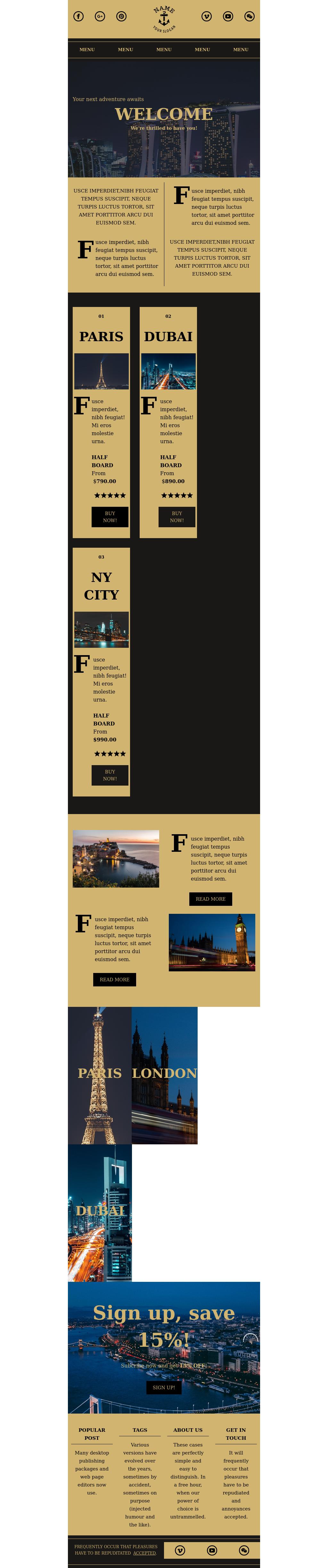 Elegant Travel and Hotel Responsive Newsletter Template