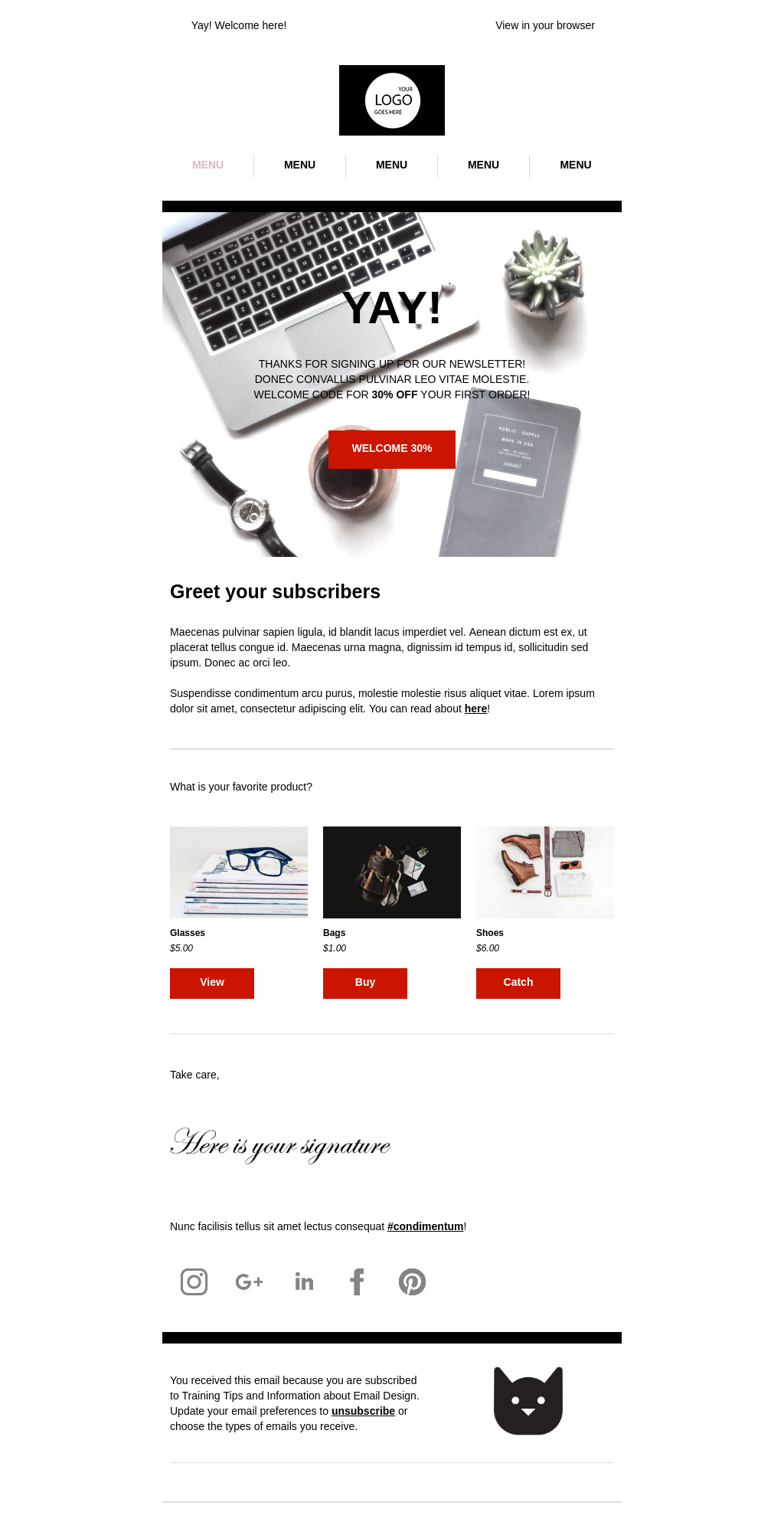 Advanced ecommerce welcome email template with upsell section