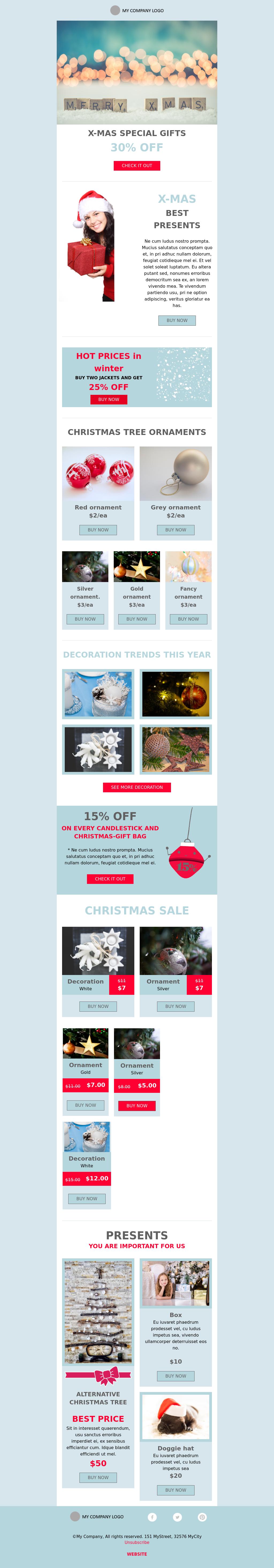 Light Blue Christmas Promotional Template