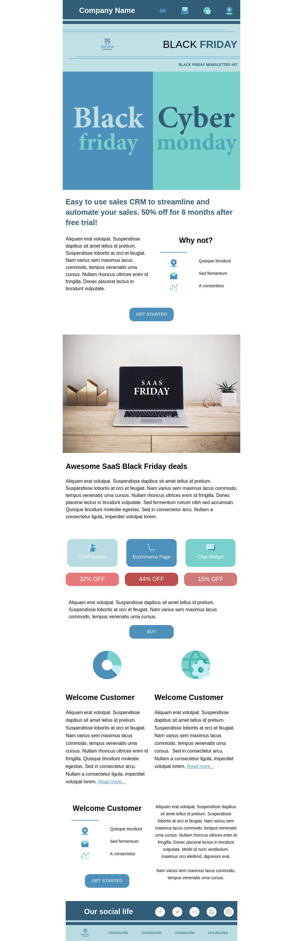 Black Friday sale business newsletter