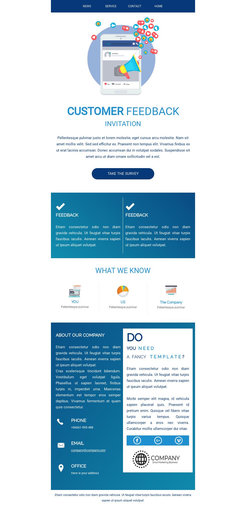 Customer Feedback Survey Invitation Email Template