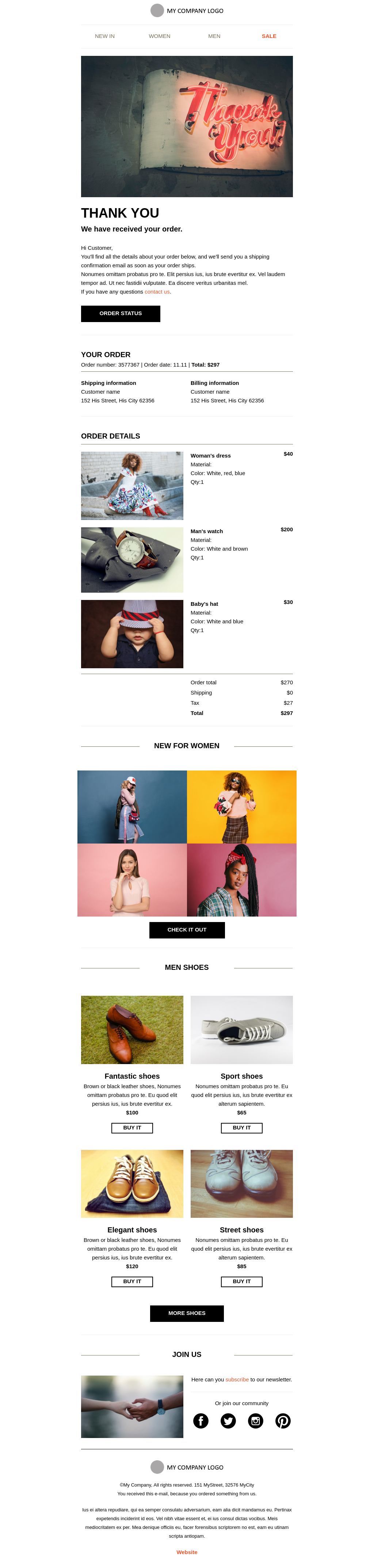 Simple and minimalistic order confirmation template for ecommerce companies
