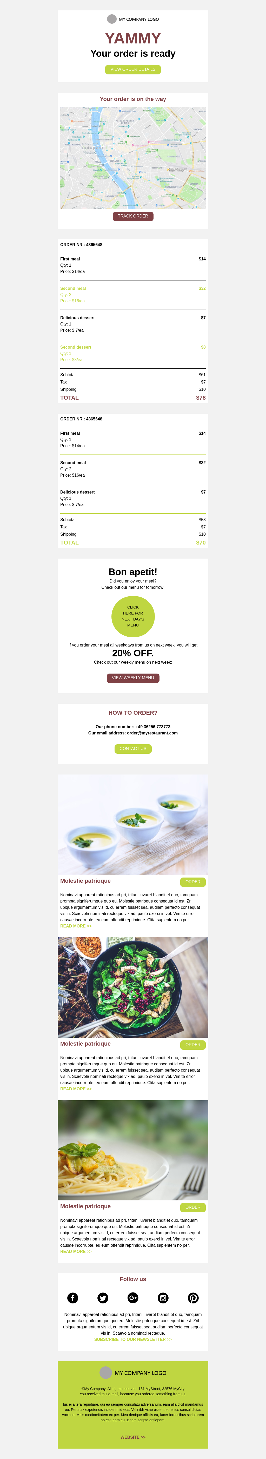 Food Delivery Order Confirmation Email Template