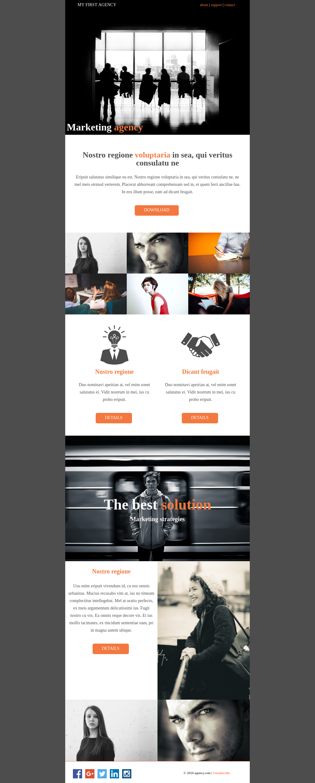 Clean looking responsive email template with one accent color