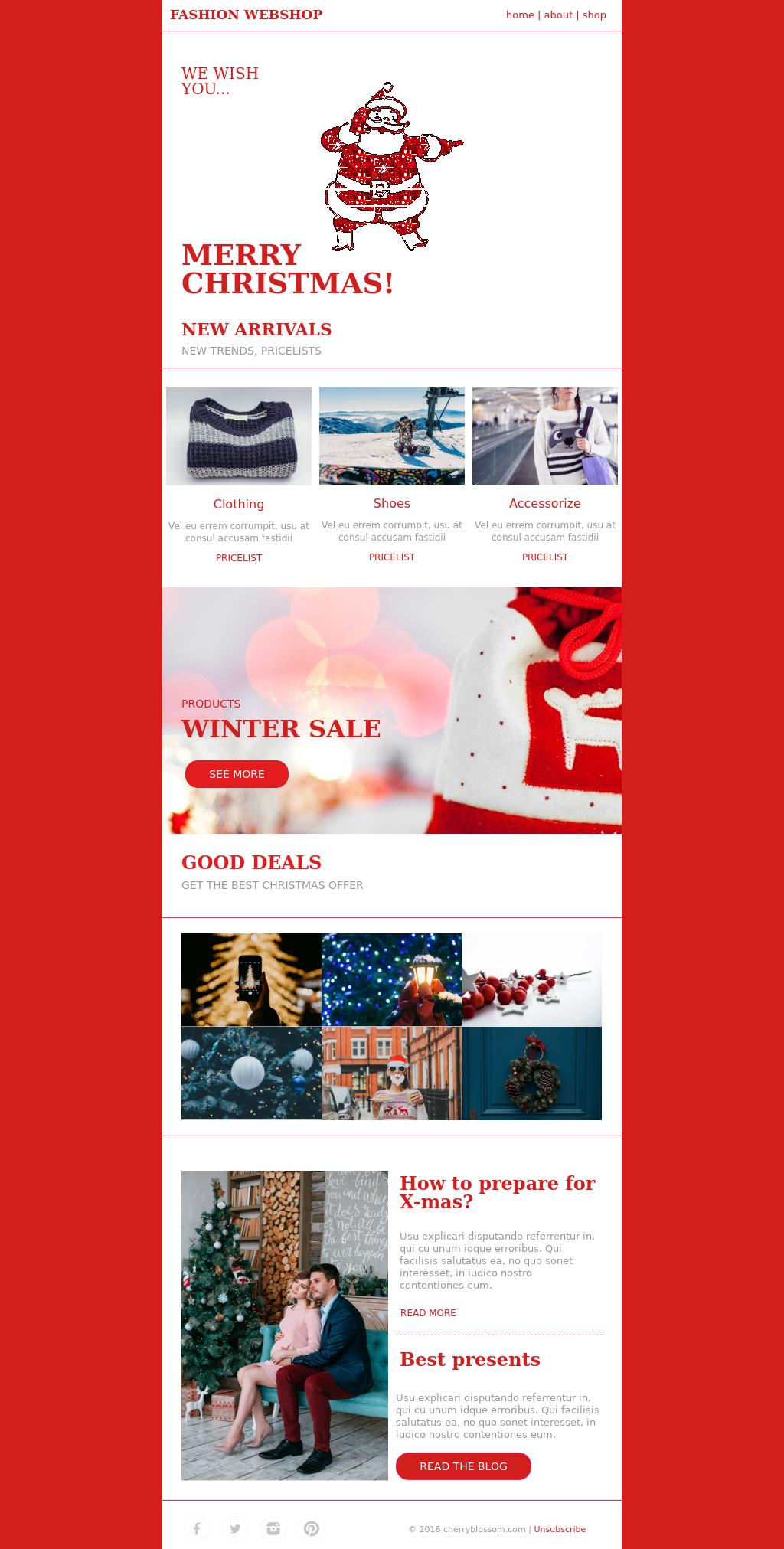 Red Santa Christmas Email Template