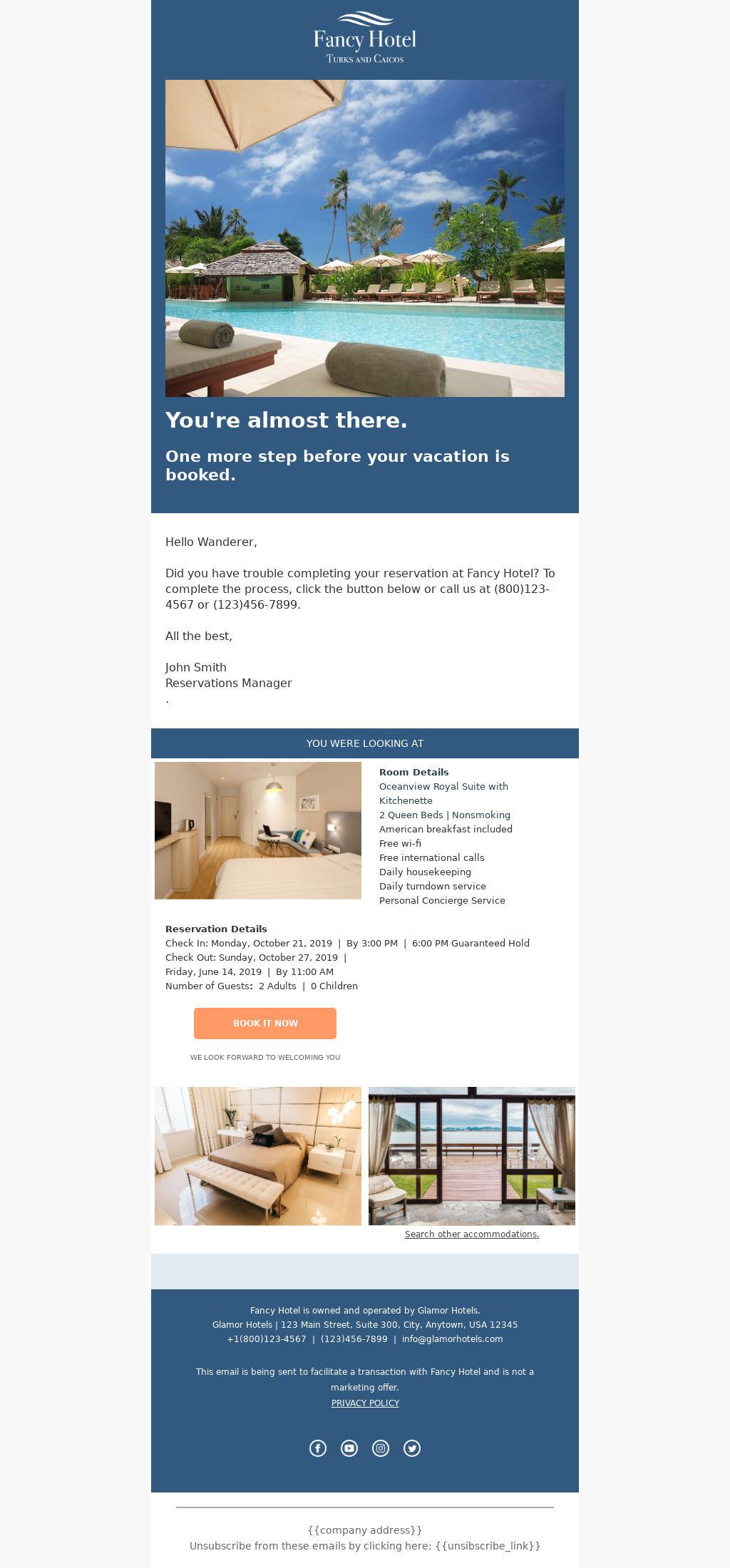 Hotel Cart Abandoned Email Template to recoup lost revenue
