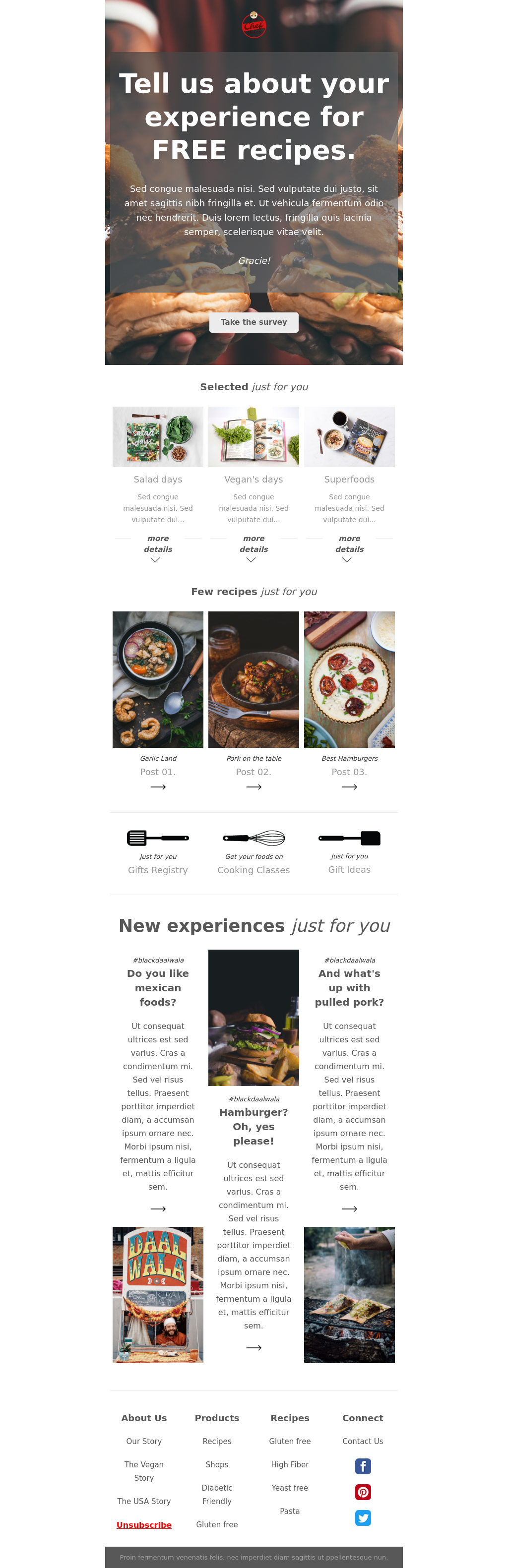 Street Food Newsletter Template with Survey Block