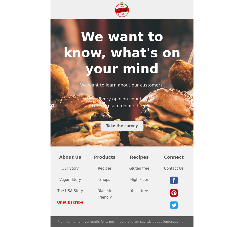 Street Food Themed Survey Invitation Email Template