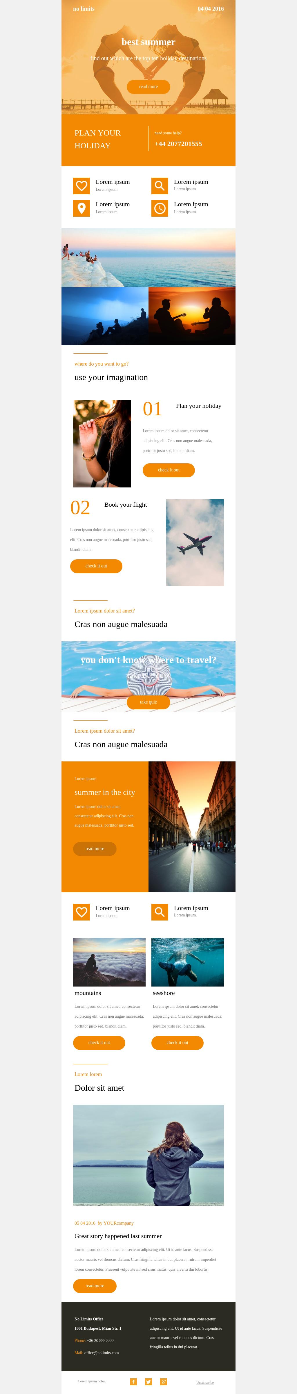 Summer travel newsletter template