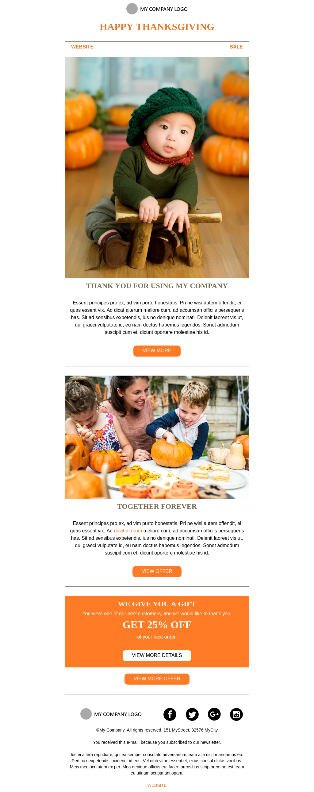 Thanksgiving Greeting Card Welcome Email Template