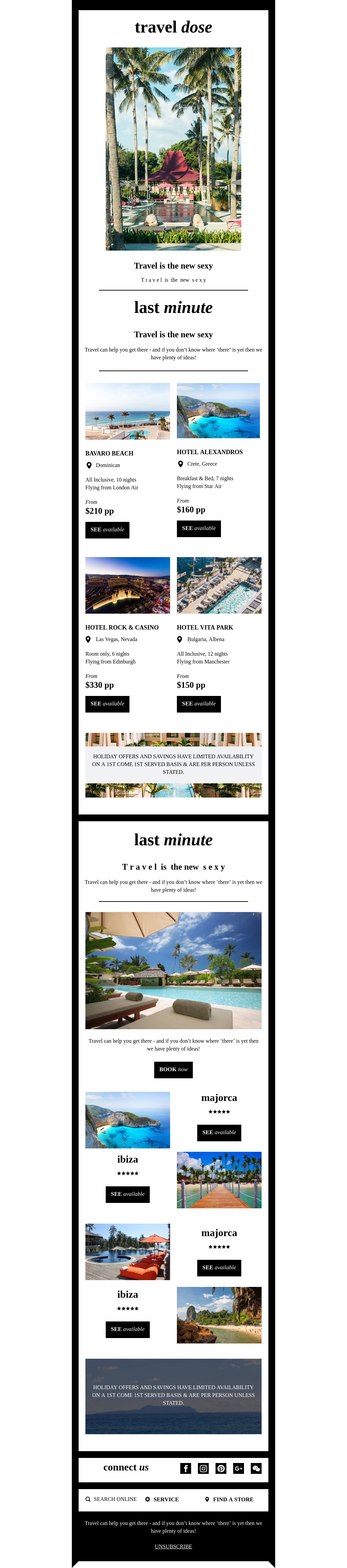 Postcard-looking, green and black travel template for ecommerce companies.