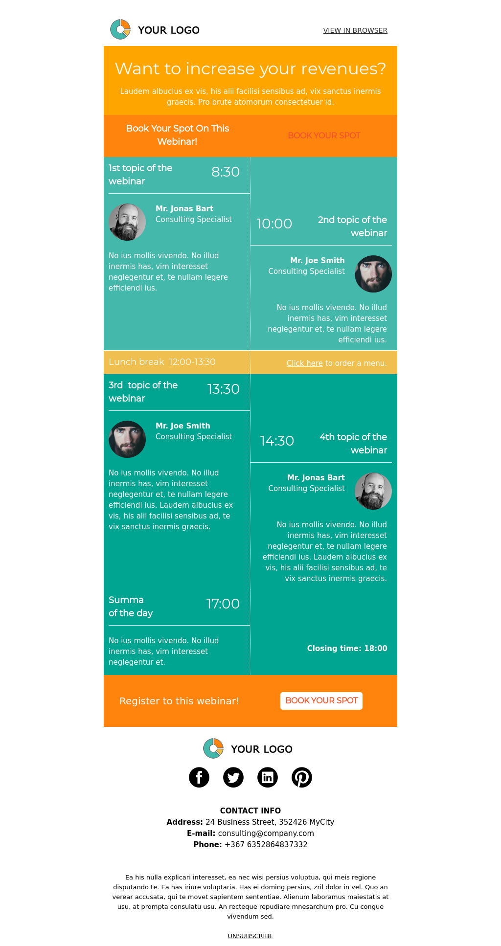 Colorful template for webinars