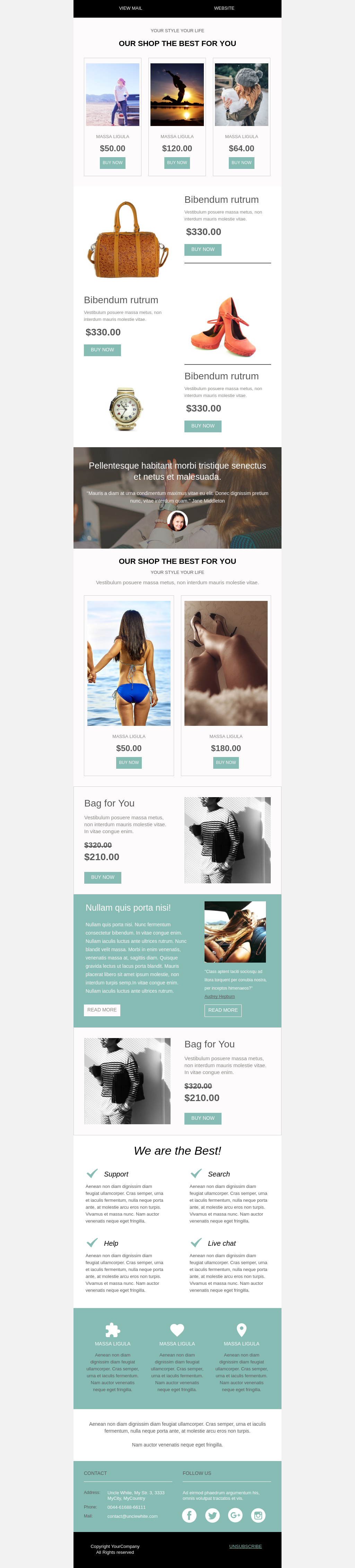 All seasons women's fashion e-commerce promotional email template